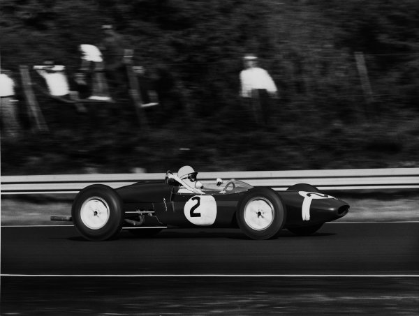 Monza, Italy. 10th September 1961.Stirling Moss (Lotus 21-Climax), retired, action.World Copyright: LAT Photographic.Ref: Autocar Used Pic 15th September Pg. 412