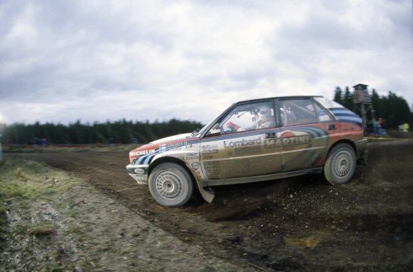 1990 World Rally Championship.Lombard RAC Rally, Great Britain. 25-28 November 1990.Juha Kankkunen/Juha Piironen (Lancia Delta Integrale 16V), retired.World Copyright: LAT PhotographicRef: 35mm transparency 90RALLY12