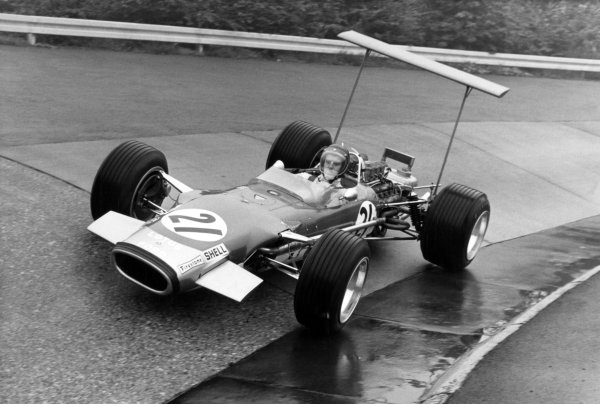 1968 German Grand Prix.Nurburgring, Germany. 4 August 1968.Jackie Oliver, Lotus 49B-Ford, 11th position, action.World Copyright: LAT PhotographicRef: Autocar b&w print