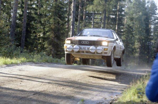 1981 World Rally Championship.1000 Lakes Rally, Finland. 28-30 August 1981.Hannu Mikkola/Arne Hertz (Audi Quattro), 3rd position.World Copyright: LAT PhotographicRef: 35mm transparency 81RALLY28