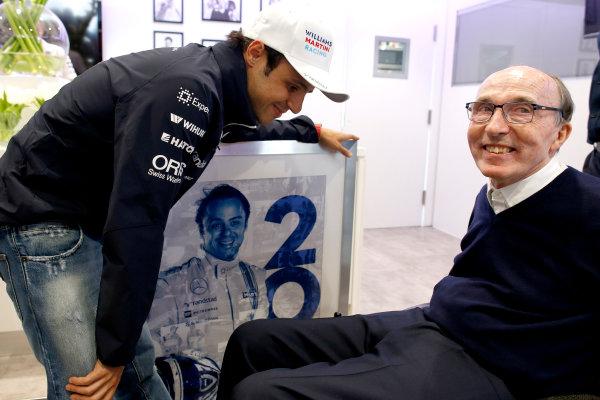 Silverstone, Northamptonshire, England. Saturday 5 July 2014. Felipe Massa, Williams F1, celebrates his 200th Grand Prix start with Sir Frank Williams, Team Principal, Williams F1. World Copyright: Glenn Dunbar/LAT Photographic. ref: Digital Image _89P2328