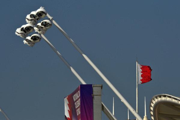 Lights in place for the Bahrain Grand Prix night race, Formula One Testing, Day One, Bahrain International Circuit, Sakhir, Bahrain, Wednesday 19 February 2014.