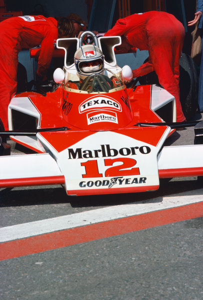 Jarama, Spain. 2nd May 1976.  Jochen Mass (McLaren M23-Ford), retired, in the pits, portrait.  World Copyright: LAT Photographic.  Ref:  76 ESP 44.