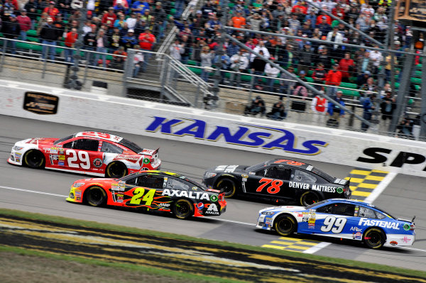 4-6 October, 2013, Kansas City, Kansas USA Kevin Harvick and Jeff Gordon ©2013, Nigel Kinrade LAT Photo USA
