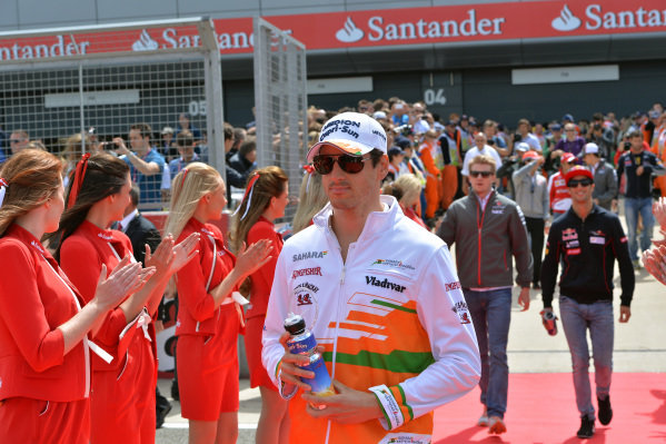 Adrian Sutil (GER) Force India F1 on the drivers parade.Formula One World Championship, Rd8, British Grand Prix, Race Day, Silverstone, England, Sunday 30 June 2013.