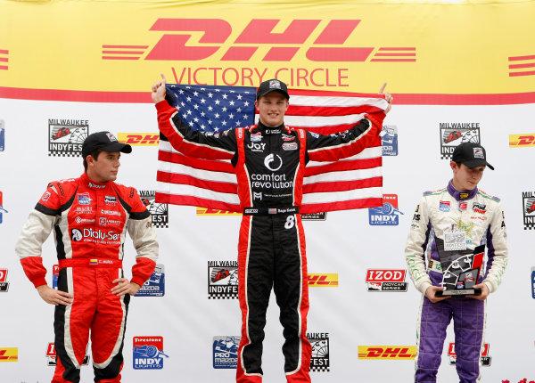 14-15 June, 2013, West Allis, Wisconsin USA Sage Karam, Zach Veach and Carlos Munoz Celebrate on  the podium ©2013, Phillip Abbott LAT Photo USA