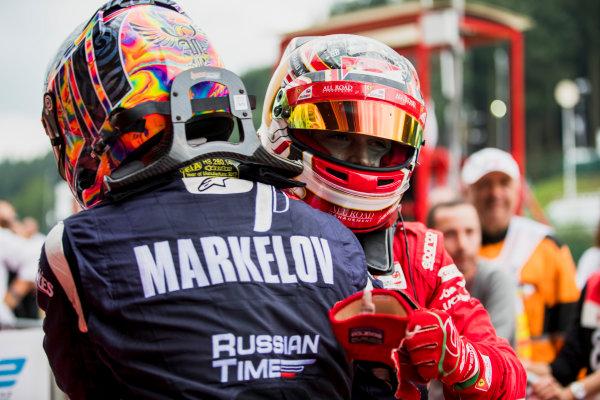 2017 FIA Formula 2 Round 8. Spa-Francorchamps, Spa, Belgium. Saturday 26 August 2017. Artem Markelov (RUS, RUSSIAN TIME), Charles Leclerc (MCO, PREMA Racing).  Photo: Zak Mauger/FIA Formula 2. ref: Digital Image _56I2459