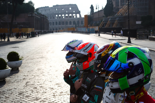 2017/2018 FIA Formula E Championship. Street Demonstration - Rome, Italy. Lucas Di Grassi (BRA), Audi Sport ABT Schaeffler, Sebastien Buemi (SUI), Renault e.Dams, Nelson Piquet Jr. (BRA), Panasonic Jaguar Racing and Luca Filippi (ITA), NIO Formula E Team. Thursday 19 October 2017. Photo: Malcom Griffiths/LAT/Formula E ref: Digital Image IMG_8954