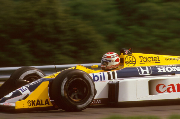 Hungaroring, Budapest, Hungary.7-9 August 1987.Nelson Piquet (Williams FW11B Honda) 1st position.Ref-87 HUN 10.World Copyright - LAT Photographic