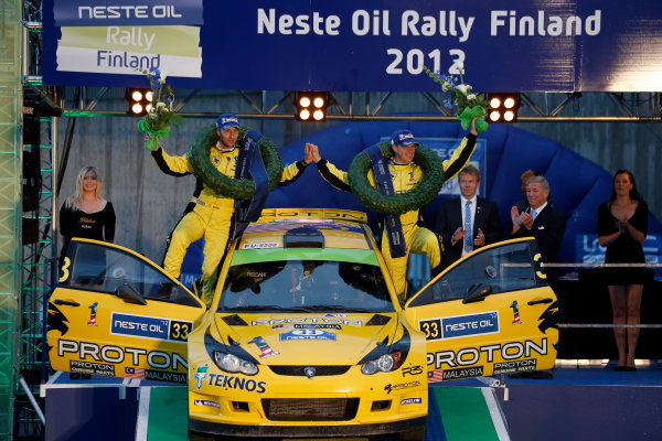 Round 08-Neste Rally Finland 1/8-4/8 2012.P-G Andersson, Emil Axelsson, Proton S2000, Podium.Worldwide Copyright: McKlein/LAT
