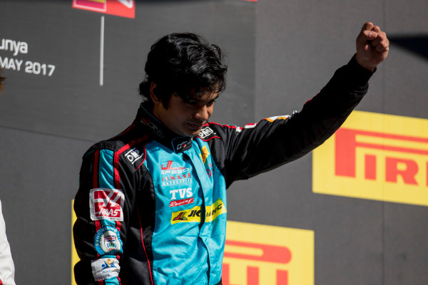 2017 GP3 Series Round 1.  Circuit de Catalunya, Barcelona, Spain. Sunday 14 May 2017. Arjun Maini (IND, Jenzer Motorsport)  Photo: Zak Mauger/GP3 Series Media Service. ref: Digital Image _54I9482