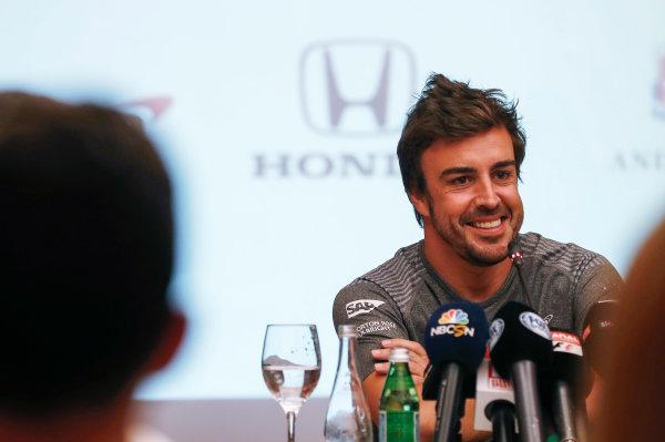 Bahrain International Circuit, Sakhir, Bahrain.  Wednesday 12 April 2017. Fernando Alonso announces his deal to race in the 2017 Indianapolis 500 in an Andretti Autosport run McLaren Honda car. World Copyright: Glenn Dunbar/LAT Images ref: Digital Image _31I6899