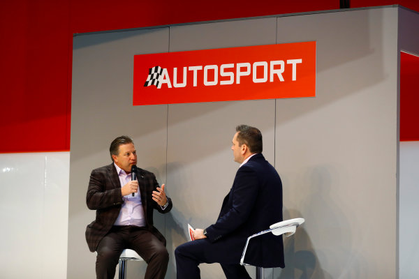Autosport International Exhibition. National Exhibition Centre, Birmingham, UK. Thursday 11th January 2017. Zak Browb, is interviewed by Henry Hope-Frost, on the Autosport Stage.World Copyright: Ashleigh Hartwell/LAT Images Ref: _R3I6607