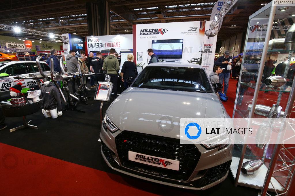Autosport International Exhibition. National Exhibition Centre, Birmingham, UK. Sunday 14th January 2018. The Milltek Sport stand.World Copyright: Mike Hoyer/JEP/LAT Images Ref: AQ2Y0029
