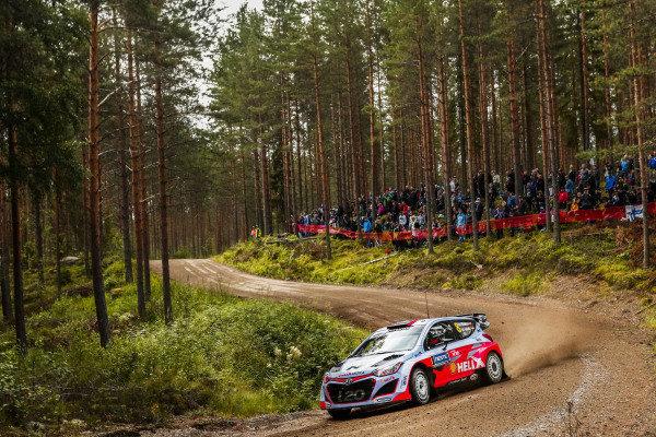 Dani Sordo (ESP) / Marc Marti (ESP) Hyundai i20 WRC at FIA World Rally Championship, R8, Neste Oil Rally Finland, Day One, Jyvaskyla, Finland, Friday 31 July 2015.