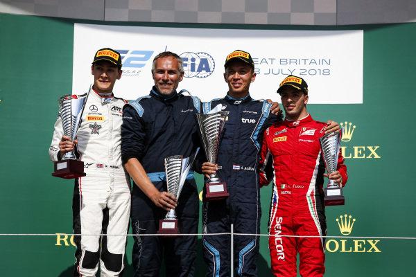 George Russell (GBR, ART Grand Prix) Alexander Albon (THA, DAMS) and Antonio Fuoco (ITA, Charouz Racing System)