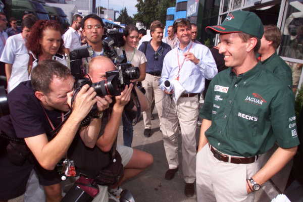Monza, Italy. 8-10 September 2000.Jaguar announces Luciano Burti will be driving for them next season. World Copyright - Lawrence/LAT Photographic