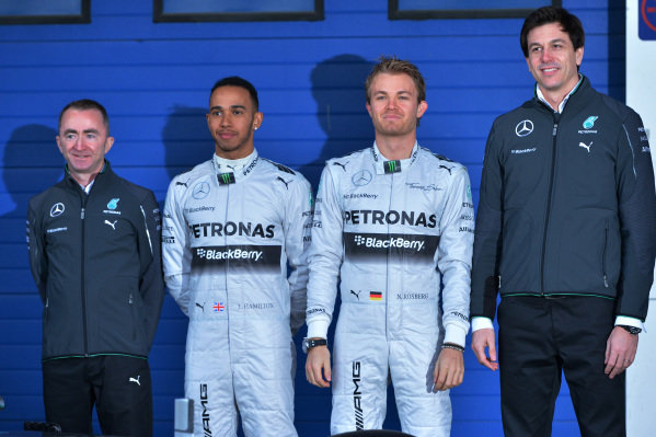 (L to R): Paddy Lowe (GBR) Mercedes AMG F1 Executive Director (Technical), Lewis Hamilton (GBR) Mercedes AMG F1, Nico Rosberg (GER) Mercedes AMG F1 and Toto Wolff (AUT) Mercedes AMG F1 Director of Motorsport. Formula One Testing, Jerez, Spain, Day One, Tuesday 28 January 2014.