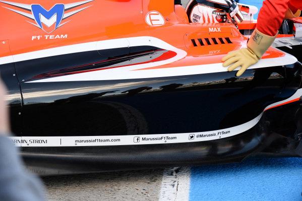 Max Chilton (GBR) Marussia MR03 sidepod detail. Formula One Testing, Jerez, Spain, Day Three, Thursday 30 January 2014.