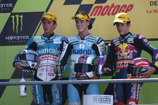 France LeMans 21- 23 May 2010125cc podium Terol Espargaro and Marquez