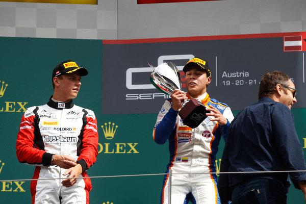 2015 GP3 Series Round 2. Red Bull Ring, Spielberg, Austria. Sunday 21 June 2015. Oscar Tunjo (COL, Trident) & Marvin Kirchhofer (GER, ART Grand Prix)  Photo:  Sam Bloxham/GP3 Media Service ref: Digital Image _G7C5895