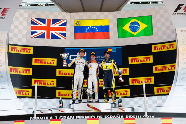 2014 GP2 Series Round 2 - Race 1. Circuit de Catalunya, Barcelona, Spain. Saturday 10 May 2014. Johnny Cecotto (VEN, Trident), 1st, Jolyon Palmer (GBR, DAMS), 2nd & Felipe Nasr (BRA, Carlin), 3rd Photo: Malcolm Griffiths/GP2 Series Media Service. ref: Digital Image A50A3178