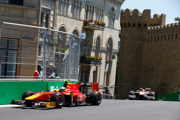 Baku City Circuit, Baku, Azerbaijan. Saturday 24 June 2017. Gustav Malja (SWE, Racing Engineering) Ralph Boschung (SUI, Campos Racing)  World Copyright: Hone/LAT Images ref: Digital Image _ONY9632