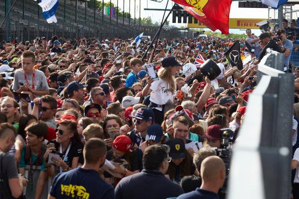 Hungaroring, Budapest, Hungary.  Thursday 27 July 2017. Lewis Hamilton, Mercedes AMG, meets some fans. World Copyright: Steve Etherington/LAT Images  ref: Digital Image SNE11441