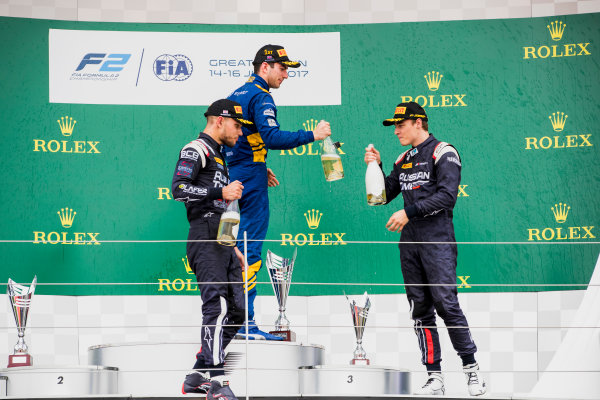 2017 FIA Formula 2 Round 6. Silverstone, Northamptonshire, UK. Sunday 16 July 2017. Luca Ghiotto (ITA, RUSSIAN TIME), Nicholas Latifi (CAN, DAMS), Artem Markelov (RUS, RUSSIAN TIME).  Photo: Zak Mauger/FIA Formula 2. ref: Digital Image _56I0812