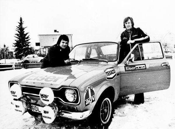 Swedish Rally, Karlstad, Sweden. 15th - 18th February 1973. Rd 2. Ronnie Peterson with co-driver Torsten Palm (Ford Escort Mexico), retired 1st special stage, portrait.  World Copyright: LAT Photographic. Ref:  B/W Print.