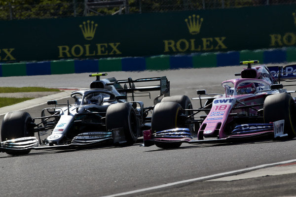 Valtteri Bottas, Mercedes AMG W10, battles with Lance Stroll, Racing Point RP19