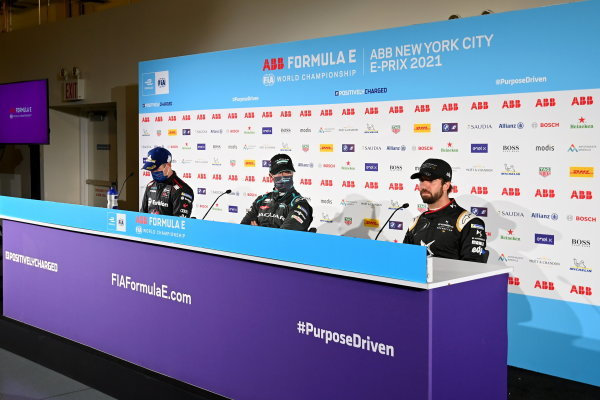 Nick Cassidy (NZL), Envision Virgin Racing, 2nd position, Sam Bird (GBR), Jaguar Racing, 1st position, and Antonio Felix da Costa (PRT), DS Techeetah, 3rd position, in the Press Conference