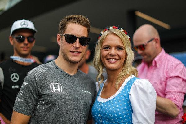 Stoffel Vandoorne (BEL) McLaren with girl at Formula One World Championship, Rd9, Austrian Grand Prix, Qualifying, Spielberg, Austria, Saturday 8 July 2017.
