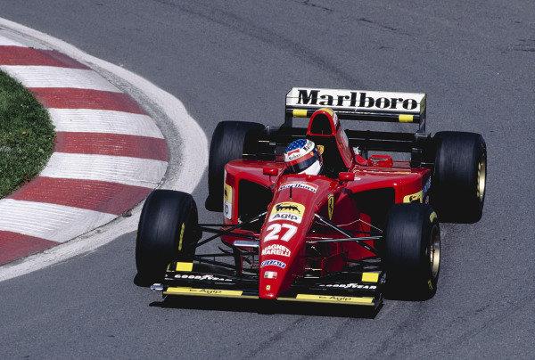 1995 Canadian Grand Prix.Montreal, Quebec, Canada. 9-11 June 1995.Jean Alesi (Ferrari 412T2) 1st position, for his maiden Grand Prix win.Ref-95 CAN 36.World Copyright - LAT Photographic