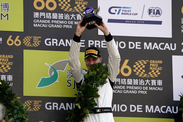 Podium: Race winner #999 Mercedes-AMG Team GruppeM Racing Mercedes AMG GT3: Raffaele Marciello.