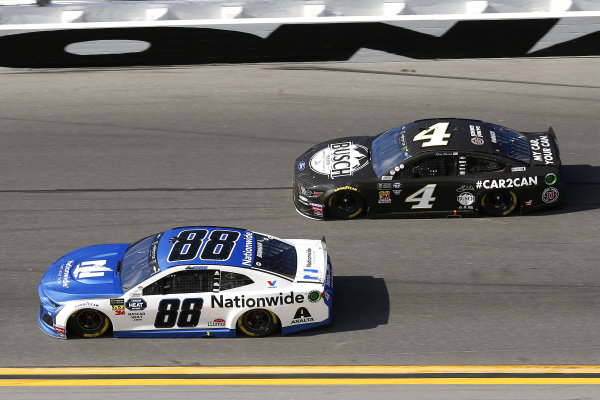 #88: Alex Bowman, Hendrick Motorsports, Chevrolet Camaro Nationwide and #4: Kevin Harvick, Stewart-Haas Racing, Ford Mustang Busch Beer Car2Can