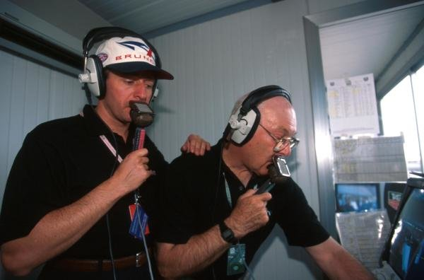 ITV F1 commentators Martin Brundle (left) and Murray Walker (GBR) in full flow in the commentary booth. 1997 Formula One World Championship.