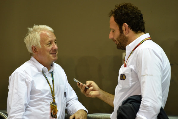 Charlie Whiting (GBR) FIA Delegate and Matteo Bonciani (ITA) FIA Media Delegate. Formula One World Championship, Rd14, Singapore Grand Prix, Marina Bay Street Circuit, Singapore, Preparations, Thursday 18 September 2014.