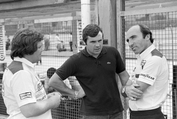 (L to R): Patrick Head (GBR) Williams Designer with pole sitter and third placed finisher Alan Jones (AUS) Williams and Frank Williams (GBR) Williams Team Owner. Formula One World Championship, German Grand Prix, Rd9, Hockenheim, 10 August 1980.