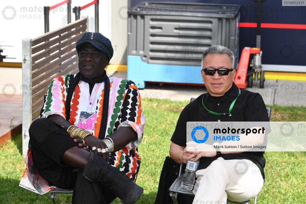 (L to R): Mr Moko (SEN) Chrome Hearts Jewellary and Massa Okikura (JPN) Convex International at Formula One World Championship, Rd1, Australian Grand Prix, Race, Albert Park, Melbourne, Australia, Sunday 26 March 2017.