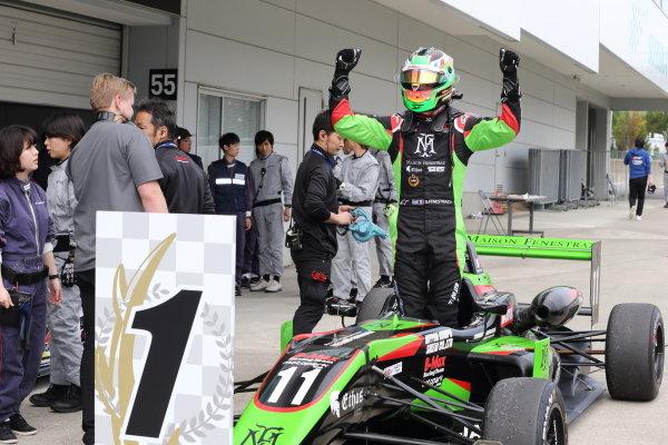 Winner Sacha Fenestraz, B-Max Racing with Motopark F3, Dallara F314 Spies A41, celebrates in parc ferme. Photo by Masahide Kamio