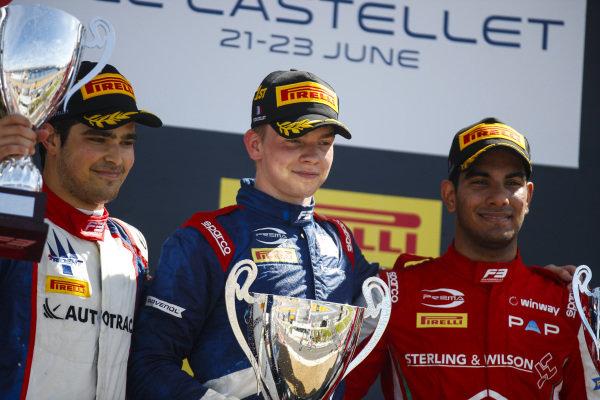 Robert Shwartzman (RUS) PREMA Racing, 1st, Pedro Piquet (BRA) Trident, 2nd, and Jehan Daruvala (IND) PREMA Racing, 3rd, celebrate on the podium