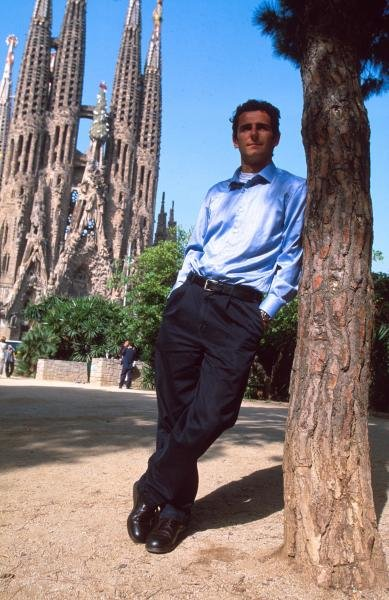 Pedro De la Rosa relaxing outside Gaudi's cathedral in Barcelona.