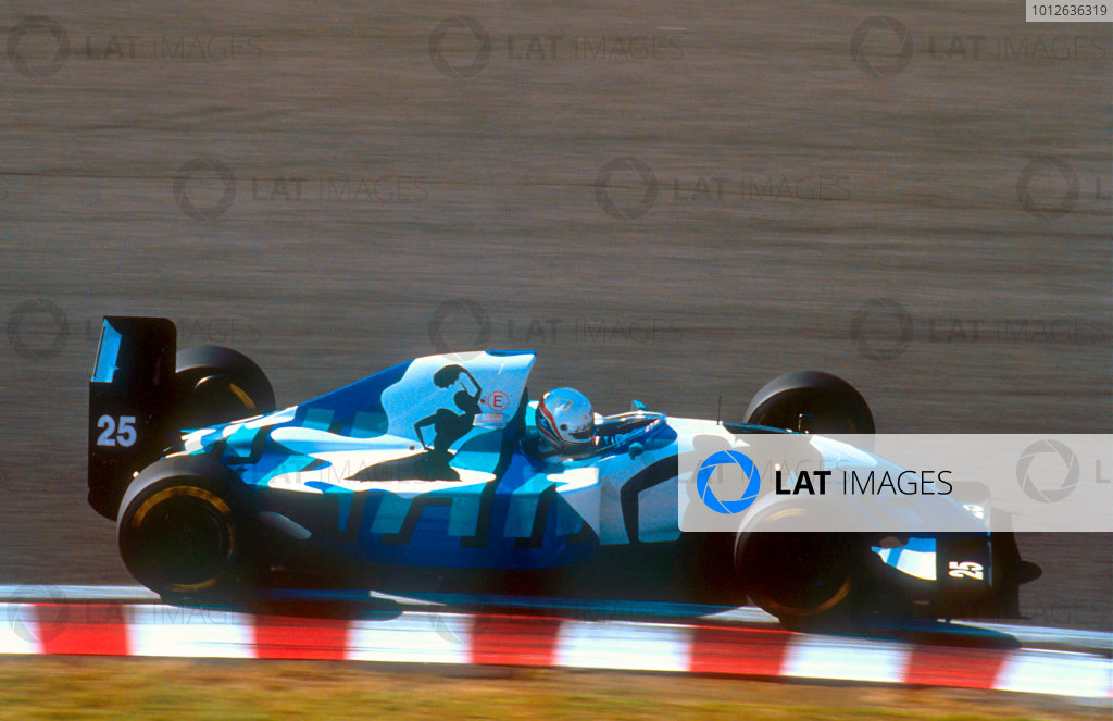 Suzuka, Japan.22-24 October 1993.Martin Brundle (Ligier JS39 Renault) 9th position in his Gitanes Blondes liveried art car, due to the brand's Japanese launch.Ref-93 JAP 02.World Copyright - LAT Photographic