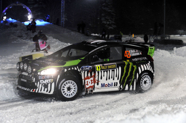 Ken Block (USA), Ford Fiesta RS WRC, on the first stage.World Rally Championship, Rd1, Rally Sweden, Karlstad, Sweden. Super-Special Thursday 10 February 2011.