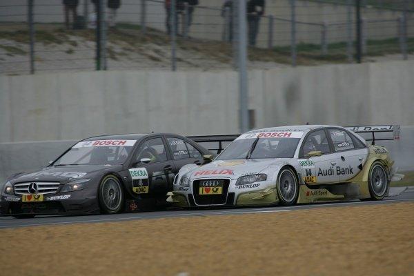 Paul di Resta (GBR) AMG Mercedes C-Klasse (2008) (2nd) fights with Alexandre Premat (FRA) Audi Sport Team Phoenix  Audi Bank / Shell Helix Audi A4 DTM (2007) (3rd). DTM, Rd10, Le Mans Bugatti Circuit, Le Mans, France, 3-5 October 2008.