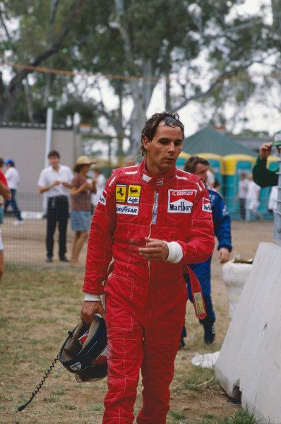 1988 Australian Grand Prix. Adelaide, Australia. 11th - 13th November 1988. Gerhard Berger (Ferrari F187/88C), retired, portrait. World Copyright: LAT Photographic.  Ref:  88AUS