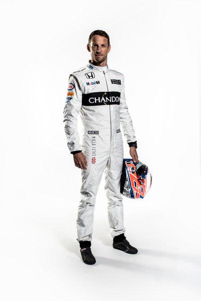 McLaren Honda MP4-31 Reveal. Woking, UK. Thursday 18 February 2016. Jenson Button, McLaren. Photo: McLaren (Copyright Free FOR EDITORIAL USE ONLY) ref: Digital Image Jenson Button Full Length Portrait 3