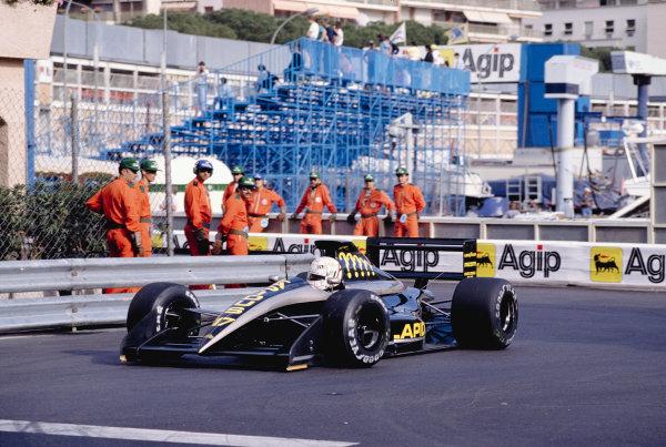 1990 Monaco Grand Prix.Monte Carlo, Monaco.24-27 May 1990.Gabriele Tarquini (AGS JH25 Ford) at Rascasse.Ref-90 MON 39.World Copyright - LAT Photographic