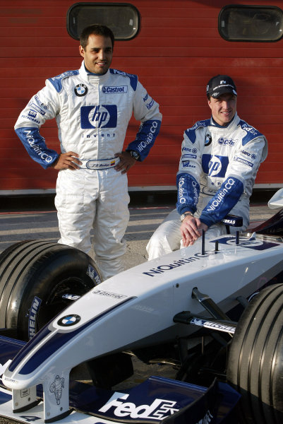 2003 San Marino Grand Prix - Friday 1st QualifyingImola, Italy. 18th April 2003Juan-Pablo Montoya, BMW Williams FW25, and Ralf Schumacher, at the launch of the Williams teams new sponsorship deal with NiQuitin.World Copyright: Steve Etherington/LAT Photographic ref: Digital Image Only
